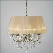 Olivia 8 Light Pendant in Antique Brass and Crystal encased in a Soft Bronze Fabric Shade - DIYAS IL30057SB